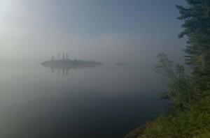 Morning fog on Uskik Lake